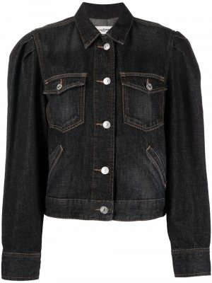 Укороченная джинсовая куртка с эффектом потертости Isabel Marant Étoile. Цвет: черный