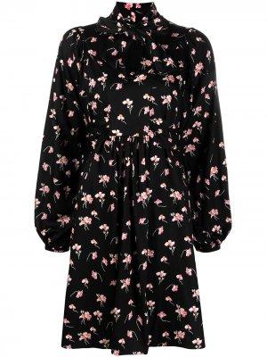 Платье с длинными рукавами и цветочным принтом byTiMo. Цвет: черный