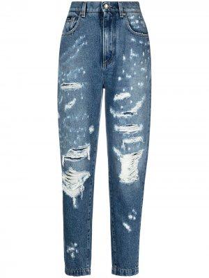 Зауженные джинсы с прорезями Dolce & Gabbana. Цвет: синий