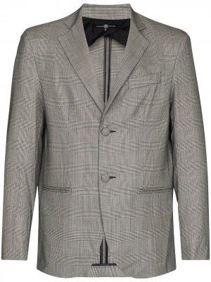 Однобортный пиджак в клетку Prince of Wales Edward Crutchley. Цвет: черный