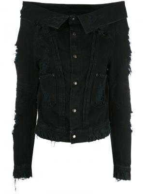 Джинсовая куртка с открытыми плечами Unravel Project. Цвет: чёрный