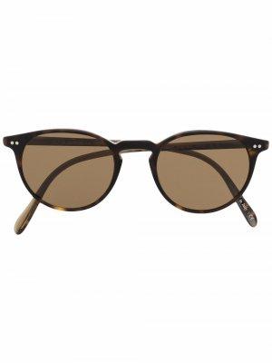 Солнцезащитные очки Riley в круглой оправе Oliver Peoples. Цвет: коричневый