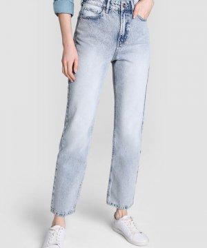 Прямые светло-голубые джинсы с высокой посадкой O`Stin. Цвет: светло-голубой