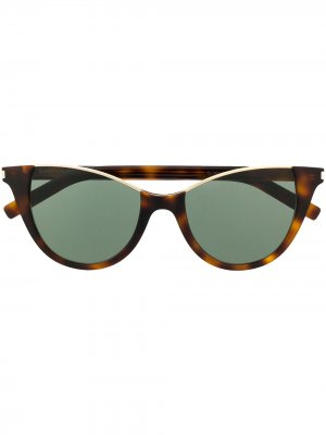 Солнцезащитные очки кошачий глаз без оправы Saint Laurent Eyewear. Цвет: коричневый