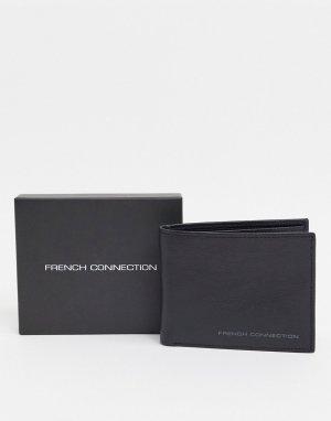 Кожаный бумажник двойного сложения -Черный French Connection