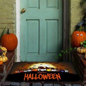 Напольный коврик с узором на хэллоуин SHEIN. Цвет: многоцветный