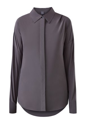 Однотонная шелковая блуза-oversize LORENA ANTONIAZZI. Цвет: серый