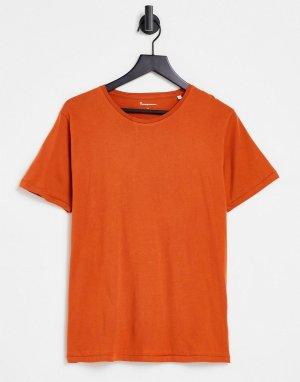 Рыжая футболка из органического хлопка -Оранжевый цвет Knowledge Cotton Apparel