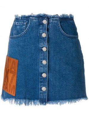 Джинсовая юбка с бахромой 7 For All Mankind. Цвет: синий