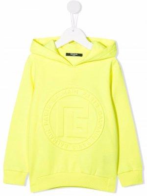 Logo-embossed cotton hoodie Balmain Kids. Цвет: желтый
