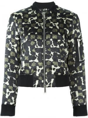 Куртка бомбер с узором Dsquared2. Цвет: чёрный