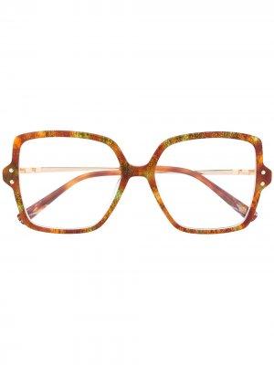 Очки в массивной квадратной оправе Missoni. Цвет: коричневый