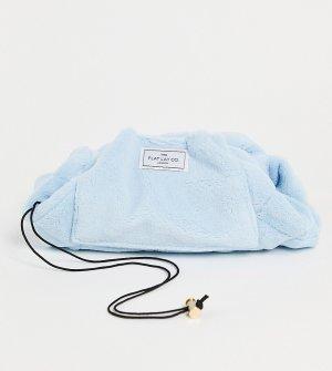 Эксклюзивная косметичка из махровой ткани голубого цвета с затягивающимся шнурком Flat Lay Co. X ASOS-Бесцветный Company