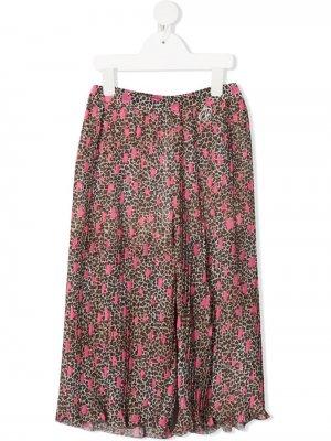 Широкие брюки с леопардовым принтом Miss Blumarine. Цвет: розовый