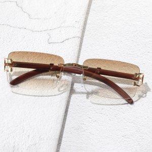 Мужской Солнцезащитные очки квадратный без оправы SHEIN. Цвет: шампанские
