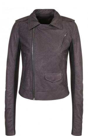 Приталенная кожаная куртка с косой молнией Rick Owens. Цвет: серый