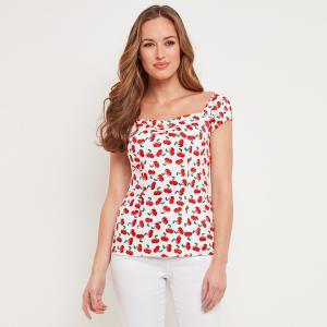Рубашка с v-образным вырезом и графическим принтом JOE BROWNS. Цвет: белый наб.рисунок