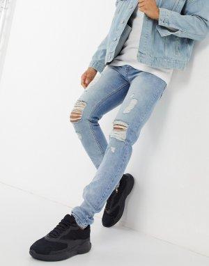 Светлые облегающие джинсы -Синий Criminal Damage