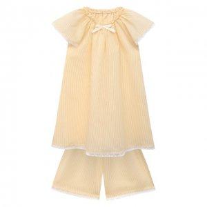 Пижама из хлопка и шелка Amiki Children. Цвет: жёлтый