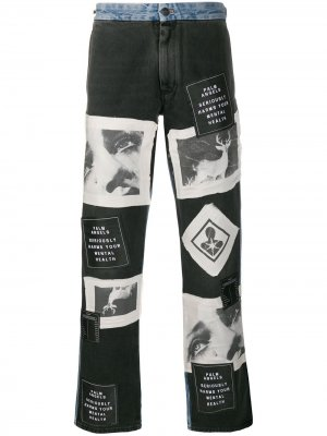 Широкие джинсы с принтом Palm Angels. Цвет: черный