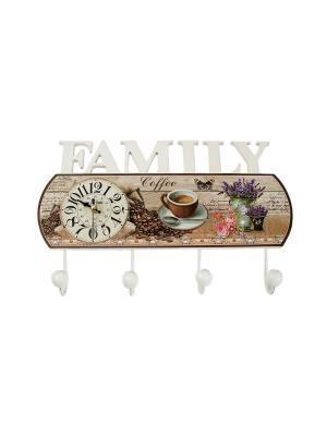 Коллаж-ключница с часами Family Русские подарки. Цвет: светло-коричневый, бежевый