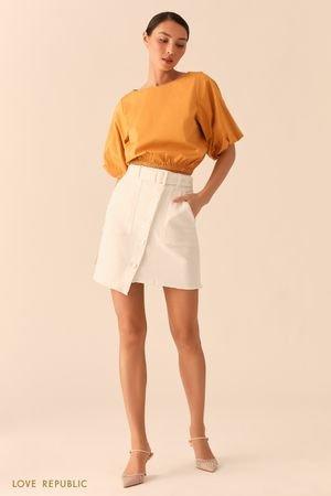 Джинсовая белая юбка асимметричного кроя с накладными карманами LOVE REPUBLIC