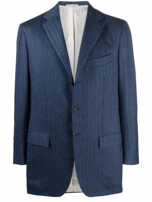 Однобортный пиджак с заостренными лацканами Kiton. Цвет: синий
