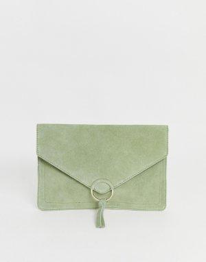 Замшевый клатч с кольцом и кисточкой S-Зеленый ASOS DESIGN