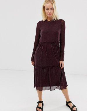 Прозрачное платье миди Moves by -Коричневый Minimum