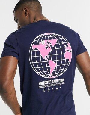 Темно-синяя футболка с логотипом и принтом глобуса на спине -Темно-синий Hollister