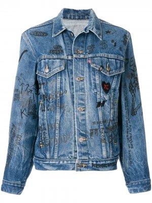 Джинсовая куртка с принтом R13. Цвет: синий