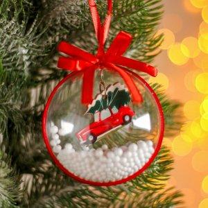 Новогодний шар с деревянной фигуркой и пенопластом Лесная мастерская