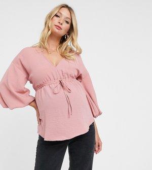 Пудрово-розовый топ с рукавами кимоно ASOS DESIGN Maternity