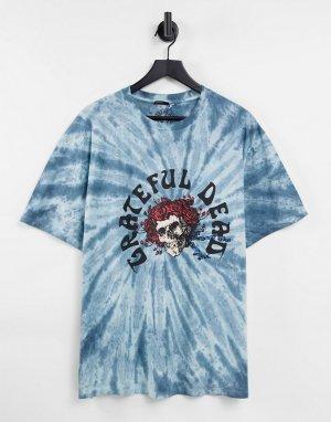 Синяя футболка с принтом тай-дай и надписью Grateful Dead ASOS-Голубой ASOS DESIGN