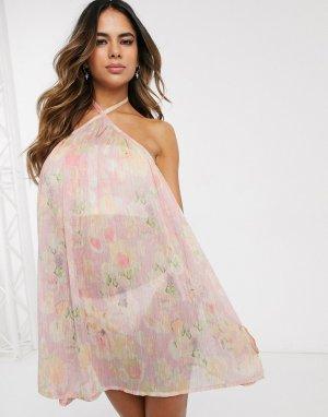 Пляжное платье-трапеция мини для груди большого размера с цветочным принтом в полоску -Мульти ASOS DESIGN