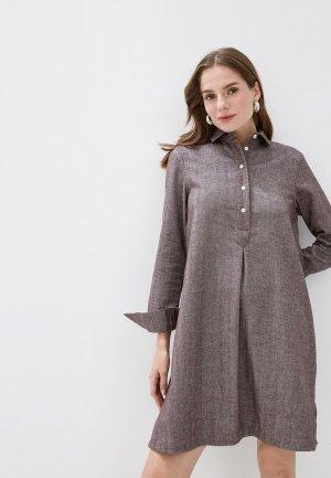 Платье Colletto Bianco. Цвет: коричневый