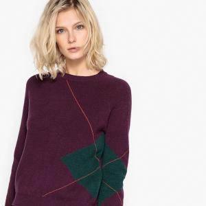 Пуловер с круглым вырезом LA REDOUTE COLLECTIONS. Цвет: фиолетовый