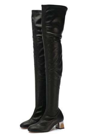 Кожаные ботфорты Alexander McQueen. Цвет: чёрный