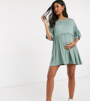 Зеленое свободное платье с оборками на рукавах -Зеленый Missguided Maternity