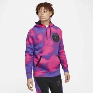 Мужская флисовая худи с принтом Paris Saint-Germain - Пурпурный