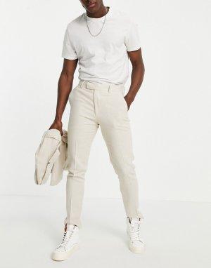 Светло-бежевые классические брюки облегающего кроя из мягкого меланжевого полота с добавлением льна -Нейтральный ASOS DESIGN
