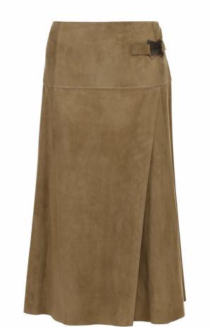 Замшевая юбка-миди с запахом Ralph Lauren. Цвет: оливковый