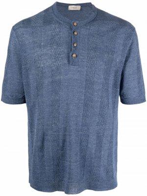 Полосатая футболка на пуговицах Altea. Цвет: синий