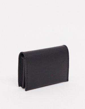 Черный кожаный бумажник с отделением для монет на молнии ASOS DESIGN