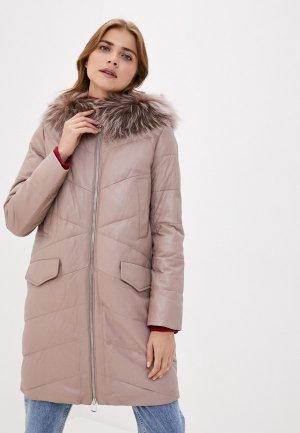 Куртка кожаная Снежная Королева. Цвет: бежевый