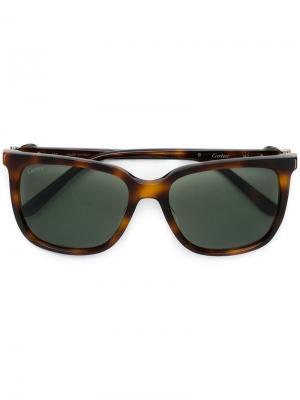 Солнцезащитные очки C Décor в квадратной оправе Cartier. Цвет: коричневый