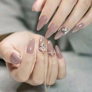 Накладные ногти с декором цепи и стразами 24шт SHEIN. Цвет: розовые