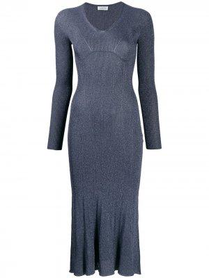 Платье миди с эффектом металлик LANVIN. Цвет: синий