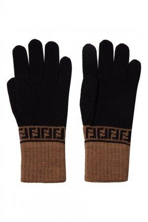 Черные перчатки с контрастной отделкой Fendi. Цвет: multicolor