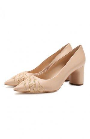 Кожаные туфли Casadei. Цвет: бежевый